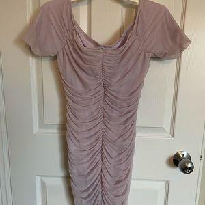 Lilac Fashion Nova off the shoulder rouched dress